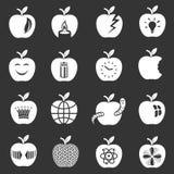 苹果计算机商标象被设置的灰色传染媒介 库存图片