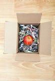 苹果计算机在箱子包裹了  库存图片