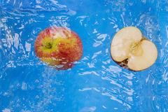苹果计算机在水中 免版税库存照片