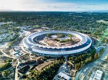 苹果计算机新的校园空中照片建设中在Cupetino 免版税库存图片