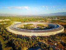 苹果计算机新的校园空中照片建设中在Cupetino 图库摄影
