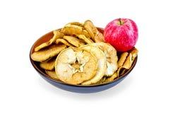 苹果计算机新红色和切片烘干在碗 库存照片