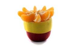 苹果计算机柠檬和蜜桔切片 库存图片