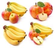 苹果计算机用香蕉 免版税库存照片