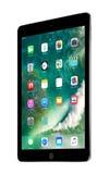 苹果计算机空间灰色iPad赞成与在屏幕上的iOS 10由苹果计算机公司设计了 免版税库存照片