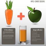 苹果计算机红萝卜汁,在灰色背景 也corel凹道例证向量 库存照片