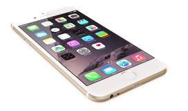 苹果计算机金子iPhone 6 库存图片