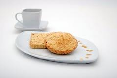 苹果计算机馅饼用咖啡 库存图片