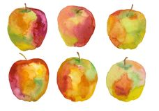 苹果计算机,水彩绘画 免版税图库摄影