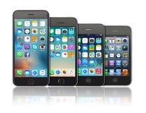 苹果计算机iPhone的演变 免版税库存照片