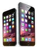 苹果计算机iphone 6和6正 库存图片