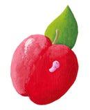 苹果逗人喜爱的桃红色红色蠕虫 库存照片