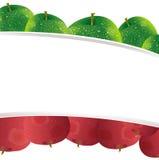 苹果逗人喜爱背景的横幅 免版税库存图片