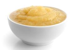 苹果酱白色陶器  库存照片