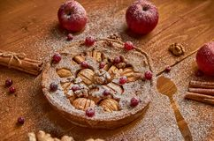 苹果饼用新鲜的蔓越桔和核桃装饰用苹果、姜和桂香 立即可食搽粉的苹果饼 库存照片