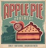 苹果饼的减速火箭的海报设计 免版税库存图片