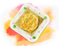 苹果饼顶视图 免版税库存图片