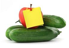 苹果黄瓜附注 库存照片