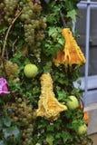 苹果,葡萄,垂悬在常春藤的南瓜 库存照片