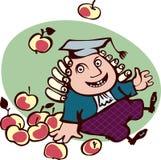 苹果围拢的快乐的艾萨克・牛顿开会。 库存图片