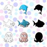 范妮动画片例证海豚章鱼鲨鱼 向量例证