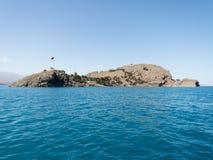 范,土耳其- 2013年9月30日:圣洁十字架的亚美尼亚大教堂教会在Akdamar海岛在范Lake,土耳其 库存图片