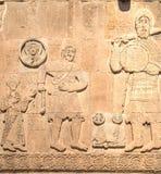 范,土耳其- 2013年9月30日:大卫与雕刻从圣洁发怒Akdamar Kilisesi o的大教堂的巨人的` s战斗细节 图库摄影