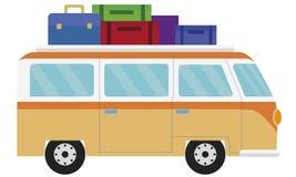 范,车装载了带着旅行的手提箱 库存例证
