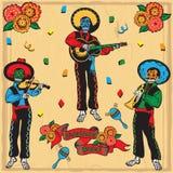 范围日停止的墨西哥流浪乐队 库存照片