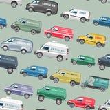 范car传染媒介微型货车交付货物自动车家庭小巴卡车和汽车横幅隔绝了citycar的搬运车 免版税图库摄影