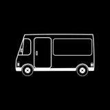范car换的和轮子的快餐餐馆 免版税库存照片