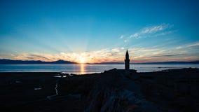 从范city老堡垒的日落视图在土耳其 免版税库存照片