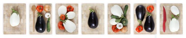 茄子、蕃茄、夏南瓜、葱和大蒜在木cutti 免版税库存图片