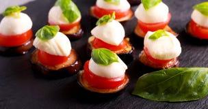 茄子、蕃茄和无盐干酪开胃菜 库存图片