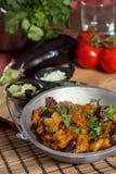 茄子可口油煎的印地安人 图库摄影
