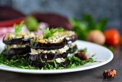 茄子和坚果调味汁开胃菜  免版税库存照片