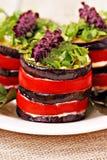 茄子和蕃茄开胃菜与蓬蒿 库存照片