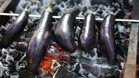 茄子在煤炭烹调 影视素材