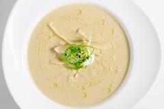 茄子奶油色汤用巴马干酪 库存图片