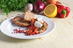 茄子意大利开胃菜用无盐干酪乳酪 在菜背景 库存图片
