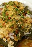 茄子沙拉用干虾 库存照片