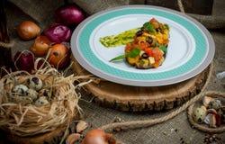茄子烘烤与菜 库存照片