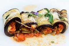 茄子烤碎肉卷子素食主义者食谱 图库摄影