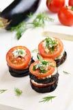 茄子用蕃茄和凝乳酪 图库摄影