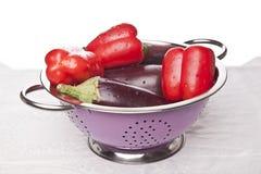 茄子胡椒完善红色 库存照片