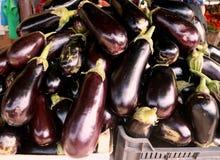 茄子茄子和其他菜在市场义卖市场卖 图库摄影