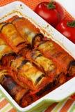 茄子被装载的肉卷 免版税库存照片