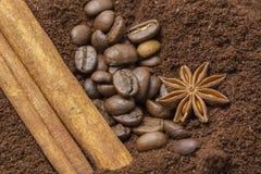 茴香、咖啡豆和桂香的构成 库存照片