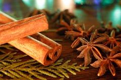 茴香和肉桂条在一张木桌上与五颜六色的聚焦 免版税库存图片