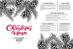茴香圣诞节叉子节假日例证菜单桔子向量 餐馆和咖啡馆模板 导航与杉树,常青树的手拉的例证 库存例证